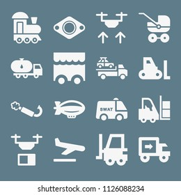 Transport icon set - filled collection of 16 vector icons such as zeppelin, drone, landing, stroller, train, exhaust, crane, forklift, tanker truck, swat van, food truck