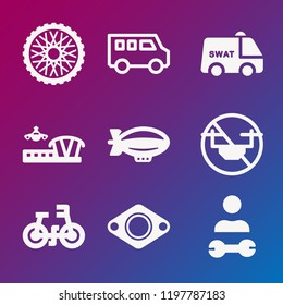 Transport icon set - filled collection of 9 vector icons such as zeppelin, drone, airport, exhaust, wheels, mechanic, bicycle, swat van