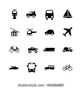 Transport icon set on white background