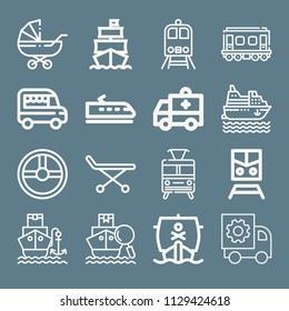 Transport icon set - outline collection of 16 vector icons such as train, public transport, steering wheel, ambulance, stretcher, ship, cruise, shipping, pushchair, van