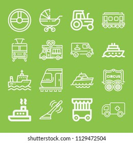 Transport icon set - outline collection of 16 vector icons such as antenna, train, wagon, cage, tractor, steering wheel, ambulance, boat, ship, pushchair, pretzel truck
