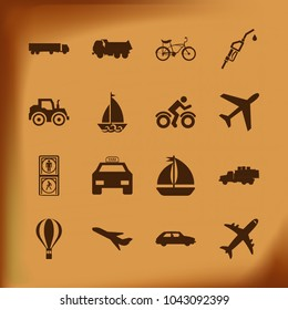 Transport Icon Set with tractor , car, truck , bicycle , yacht, pedestrian, petrol and balloon