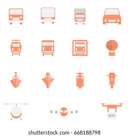 Transport icon set, Transportation color icons on white background, vector illustration