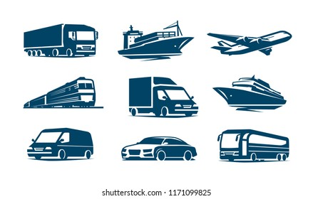 Transport icon set. Transportation symbol. Vector illustration