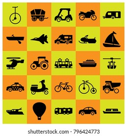 Transport icon set vector. boat, helicopter, car and dumper