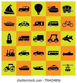 Transport icon set vector. tank, car, van and jeep