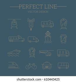 transport icon, vector line