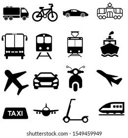Transport icon vector set. Transportation illustration symbol collection.