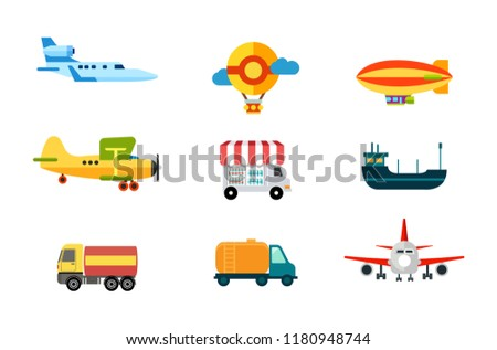 Transport Icons Air Transport River Sea Stock Vector (Royalty Free