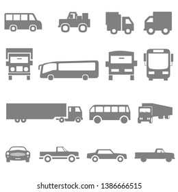 Transport icons. Airplane, Public bus, Train and auto signs. Shipping delivery symbol. Air mail delivery sign. Vector