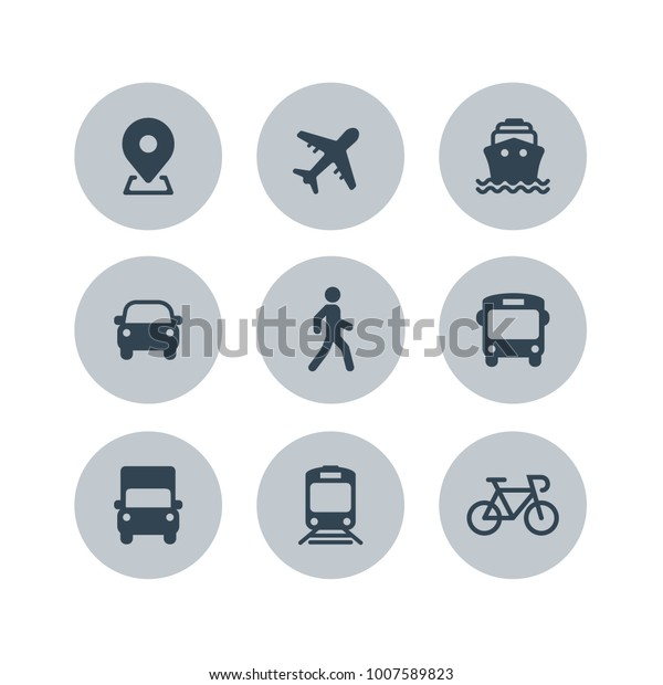 Transport icons. Airplane, Public bus, Train, Ship/Ferry, Car, walk man, bike, truck and auto signs. Shipping delivery symbol. Air mail delivery sign. Vector