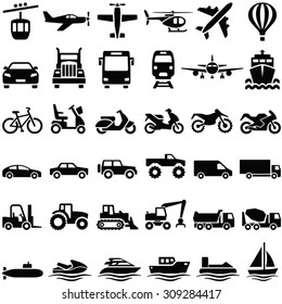 Transport icons collection - vector silhouette