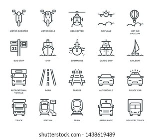 Transport Icons, oncoming view,  Monoline concept The icons were created on a 48x48 pixel aligned, perfect grid providing a clean and crisp appearance. Adjustable stroke weight.