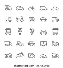 Transport icons Outline Stroke on White Background Vector Illustration