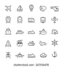 Transport icons Outline Stroke on White Background Vector Illustration