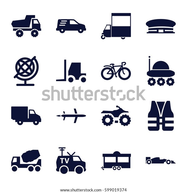 transport icons set. Set of 16 transport filled icons such as airport, toy car, globe, concrete mixer, tractor, trailer, van, bicycle, delivery car, TV van, sport car