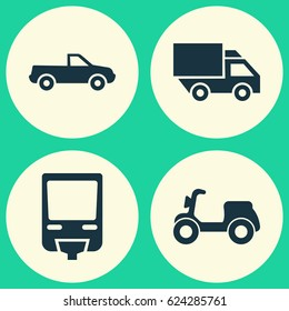 Transport Icons Set. Collection Of Cabriolet, Van, Skooter And Other Elements. Also Includes Symbols Such As Camion, Monorail, Pickup.