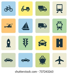 Transport Icons Set. Collection Of Skooter, Automobile, Aircraft And Other Elements. Also Includes Symbols Such As Ship, Bicycle, Trolley.