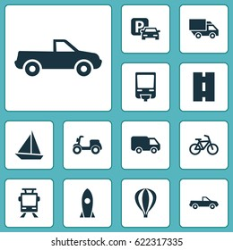 Transport Icons Set. Collection Of Streetcar, Way, Spaceship And Other Elements. Also Includes Symbols Such As Airship, Rocket, Train.