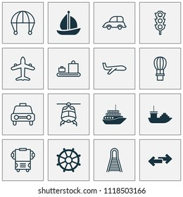 Transport icons set with motorboat, cargo boat, luggage conveyor and other railway elements. Isolated vector illustration transport icons.