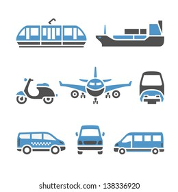 Transport Icons - A set of ninth. Vector illustrations, set silhouettes isolated on white background. Bicolor (blue and gray colors).