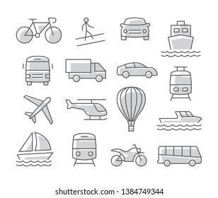 Transport icons set on white background