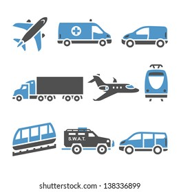Transport Icons - A set of seventh. Vector illustrations, set silhouettes isolated on white background. Bicolor (blue and gray colors).