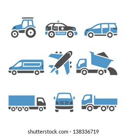 Transport Icons - A set of twelfth. Vector illustrations, set silhouettes isolated on white background. Bicolor (blue and gray colors).
