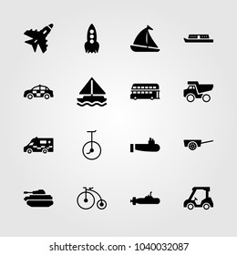 Transport icons set. Vector illustration destroyer, jet, ambulance and bicycle
