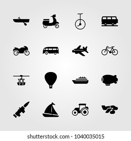 Transport icons set. Vector illustration sport bike, bus, rowing and air balloon