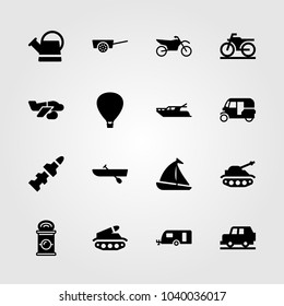 Transport icons set. Vector illustration air balloon, sport bike, tank and yatch