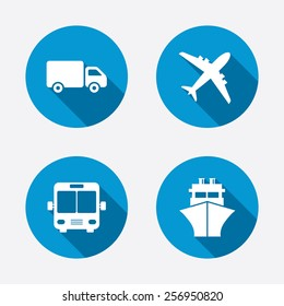 Transport icons. Truck, Airplane, Public bus and Ship signs. Shipping delivery symbol. Air mail delivery sign. Circle concept web buttons. Vector