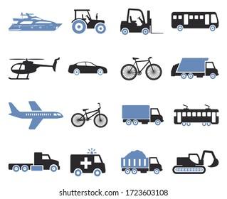 Transport Icons. Two Tone Flat Design. Vector Illustration.