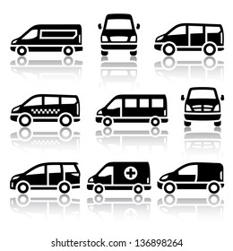 Transport icons - Van, vector illustrations, set silhouettes isolated on white background.