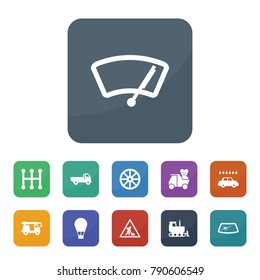 Transport icons. vector collection filled transport icons such as whell, car window repair, mechanical transmission, car wiper, car wash, road working sign, crane truck, larry