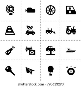 Transport icons. vector collection filled transport icons. includes symbols such as whell, tractor, wheel balance, car window lift. use for web, mobile and ui design.
