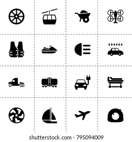 Transport icons. vector collection filled transport icons. includes symbols such as whell, wheelbarrow, tire repair, alloy wheel. use for web, mobile and ui design.