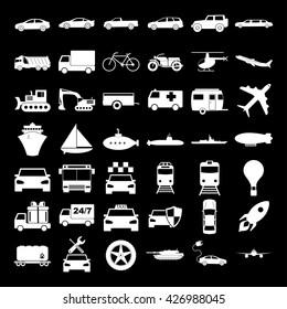 Transport icons. Vector concept illustration for design.