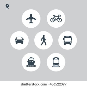 Transport icons. Walk man, Bike, Airplane, Public bus, Train, Ship/Ferry and auto signs. Shipping delivery symbol. Air mail delivery sign. Vector