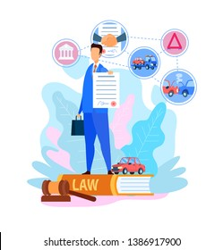 Transport Insurance Agency Vector Illustration. Vehicle, Car Protection. Traffic Collision. New Auto Crash, Accident. Insurance Agent Cartoon Character Holding Contract, Legal Document
