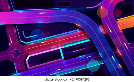 Transport interchange in night neon city top view. Urban architecture, modern megapolis with glowing skyscrapers, moving cars, old film with lines and pixel noise effect. Cartoon vector illustration
