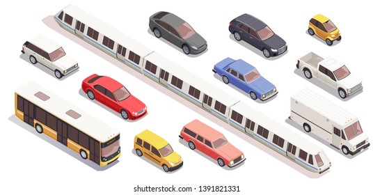 Transport isometric icons set with bus car train van isolated on white background 3d vector illustration