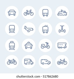 Transport line icons in circles