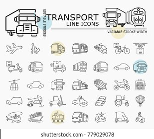 Transport line icons with minimal nodes and editable stroke width and style