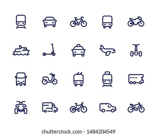 Transport line icons set, cars, train, airplane, bike, motorbike, bus, taxi, tuk tuk, quad bike, subway, public transportation, vector