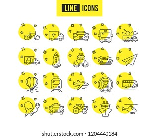 Transport line icons. Set of Taxi, Helicopter and Train linear icons. Truck, Underground metro or Tram and Air balloon transport symbols. Bike, Airport plane and Ship. Travel bus. Paper airplane