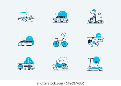 Transport line icons set vector illustration. Collection consists of airplane, car, truck, train, bicycle, bus and electric scooter flat style concept. Isolated on white