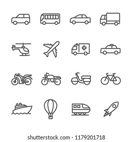 The transport lines icon set vector