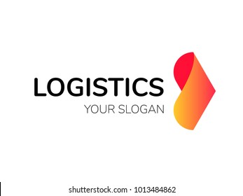Transport logistic arrow logo fro courier or fast delivery shipping company or transportation service concept. Vector isolated forward arrow icon for express delivery or logistics and post mail design