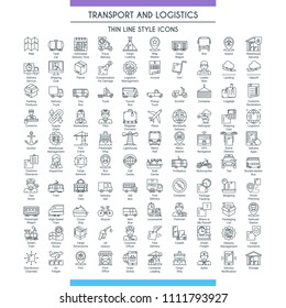 Transport and logistic big icons set. Modern icons on theme delivery, packaging, navigation and transportation. Thin line design icons collection. Vector illustration